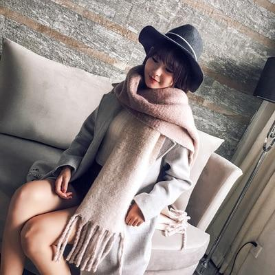 Mingjiebihuo Korean new fashion long scarf shawl female autumn and winter new color mixed wild warm thick fringed scarf