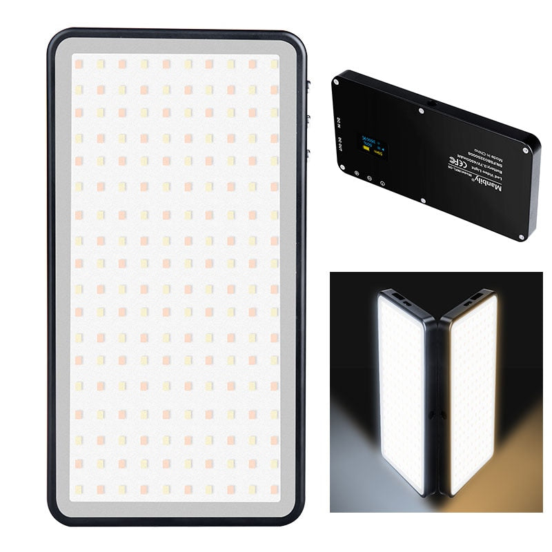 Manbily MFL-06 Dimmable LED Video Light Ultra Thin OLED Display 96Pcs leds CRI96+ Bi-Color Photo Studio Light for DSLR Cameras