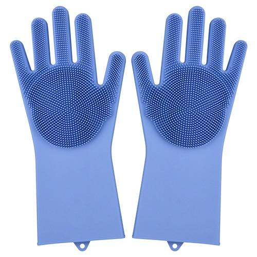 1 Pair Dishwashing Gloves Silicone Dish Washing Gloves Kitchen Silicone Cleaning Household Tools for Clean Car Pet Brush Glove