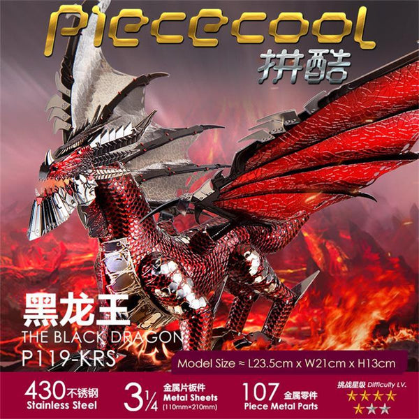 2019 Piececool 3D Metal Puzzle The Black Dragon Model DIY Laser Cut Assemble Jigsaw Toy Desktop decoration GIFT For Adult kids