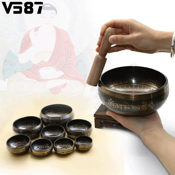Brass Tibetan Yoga Singing Bowl Meditation Singing Bowl Himalayan Hand Hammered Chakra Meditation Sound Massage Home Ornament