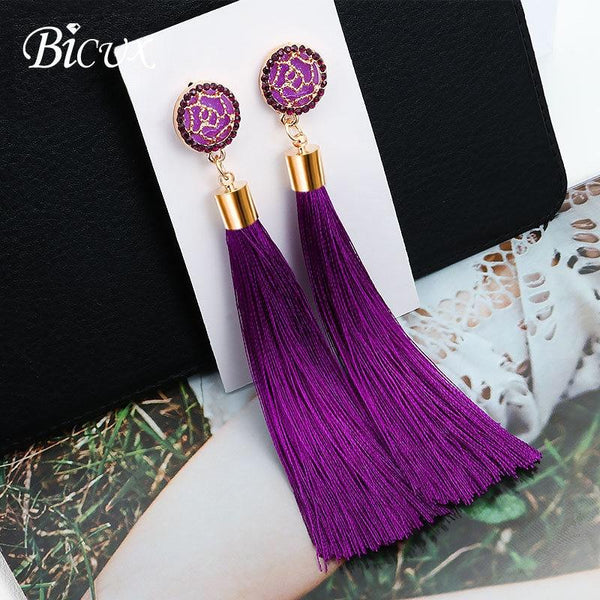 BICUX Fashion Bohemian Tassel Crystal Long Earrings White Red Silk Fabric Drop Dangle Tassel Earrings For Women 2019 Jewelry
