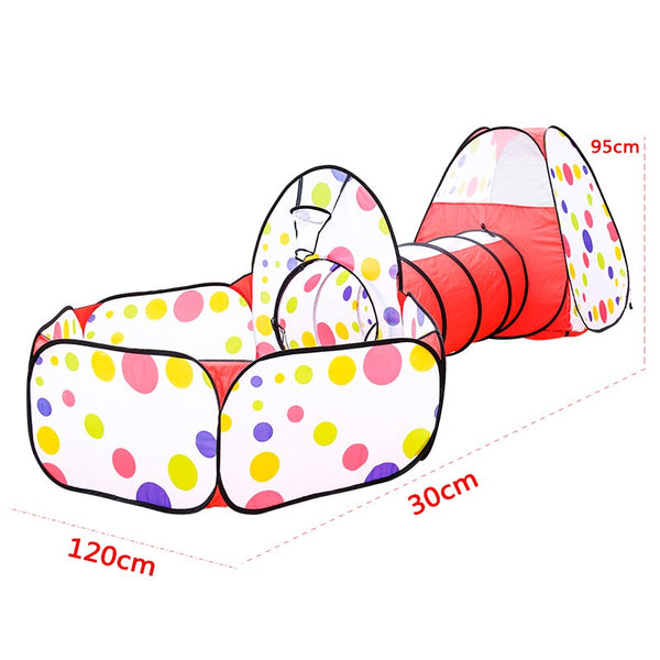 Play Tent Foldable Portable Tunnel Three - Piece Set With Basket Ball Pool Pits Indoor/Outdoor Play House Toys For Children Kids