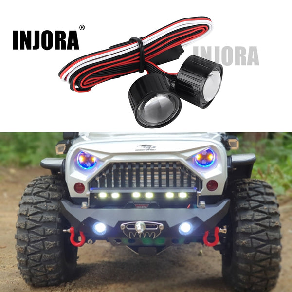 INJORA 22mm Multifunction RC Car Headlight LED Lights with Controller Board for 1/10 Axial SCX10 90046 RC Rock Crawler