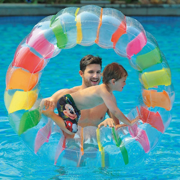 NEW 36inch Kids Colorful Inflatable Water Wheel Roller Float Giant Roll Ball For Boys Girls Swimming Pool Toys Grass Plaything
