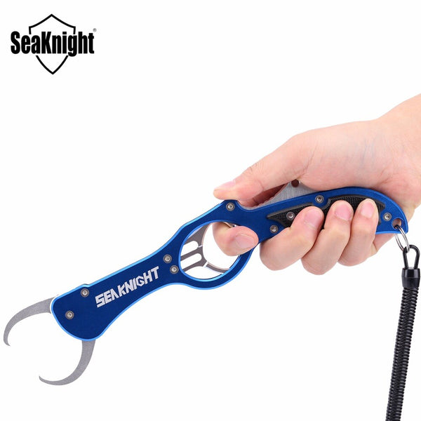 SeaKnight SK009 Stainless Steel Fishing Grips Fish Lip Grip Fishing Grabber Controller with Retention Rope Fishing Tool Tackle