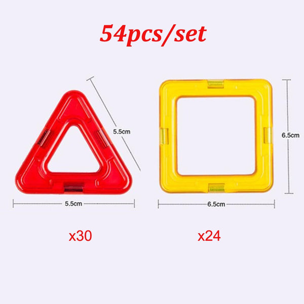 54pcs/set Big Size Magnetic Blocks Triangle Square Bricks Magnetic Designer Construction Toys For Kids Gift
