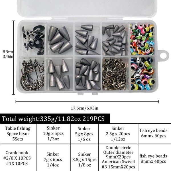 64pcs 219pcs Fishing Bullet Weights Texas Rig Set Fishing Accessories Hooks Swivels Lead Sinker Fish Eye Beads DIY KIT
