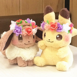 New Authentic Japan Pokemon anime game 2pcs Pikachu&Eievui's Easter Eevee Plush Doll Stuffed Toy Limited Plush Doll Toy (Yellow)