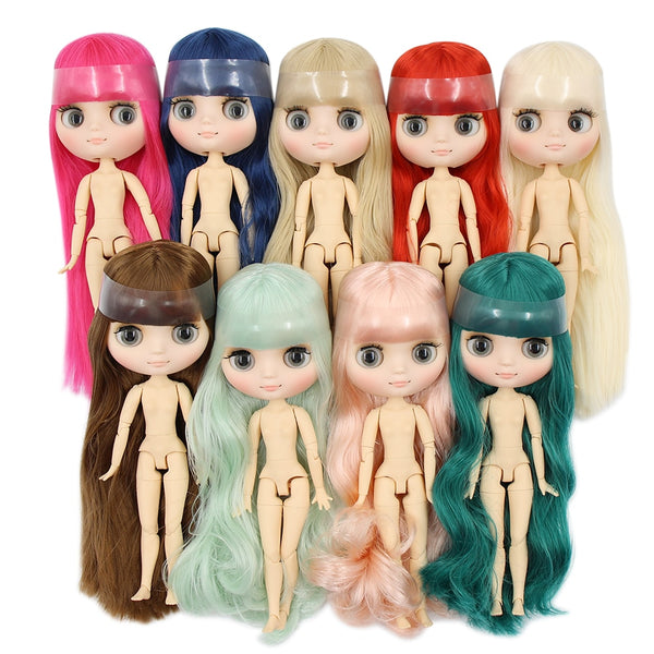 factory blyth middie doll 1/8 matte face joint body short/long hair curly/straight hair, special offer naked middie doll 20cm