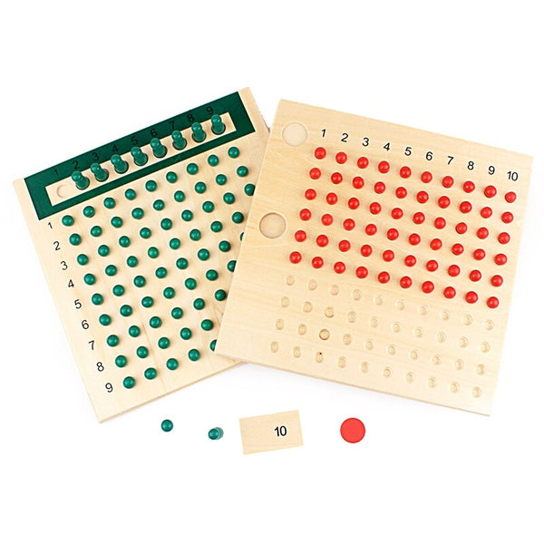 Montessori Educational Wooden Toy Multiplication and Division Beads Board for Early Childhood Preschool Training Family Version
