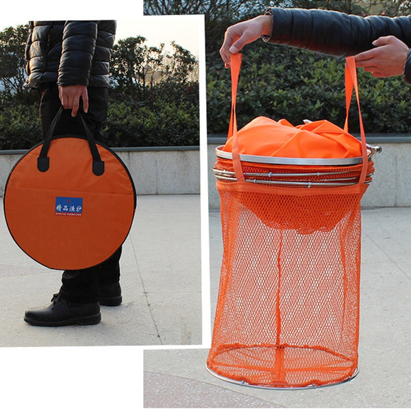 Fishing Net Cage Utility Folding Fish Care Creel Tackle Small Mesh 25cm/33cm Diameter