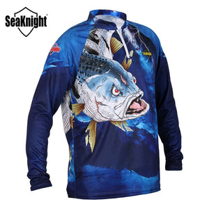SeaKnight SK004 Stand Collar Men Fishing Clothings Quick Dry Summer Anti-UV Protection Long Sleeve T-Shirt Fishing Vest