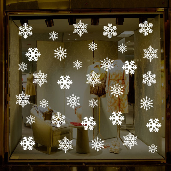 38 pcs/lot snowflake electrostatic Sticker Window Kids room Christmas Wall Stickers Home Decals Decoration New Year wallpaper