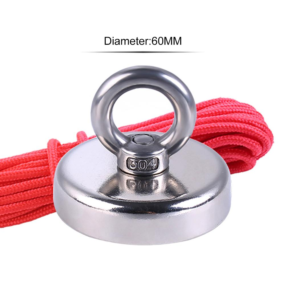 Super Strong Fishing Magnet Neodymium Magnet With Countersunk Hole And Eyebolt 20M Rope Pulling Force 110Kg Fishing Magnet