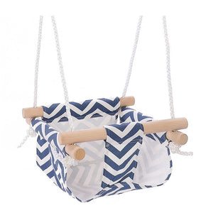 Canvas Baby Swing Chair Hanging Wood Children Kindergarten Toy Outside Indoor Small Basket Swinging Rocking Chair Baby Toy (Blue)