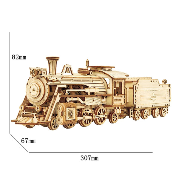 Robotime ROKR Train Model 3D Wooden Puzzle Toy Assembly Locomotive Model Building Kits for Children Kids Birthday Gift