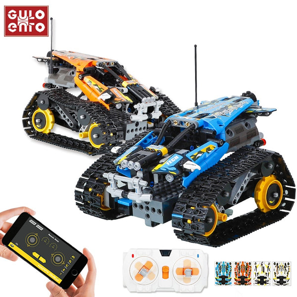 406PCS Technic RC Tracked Stunt Vehicle Creator APP Remote Control Car Building Blocks Bricks DIY Toys Gifts For Children Kids