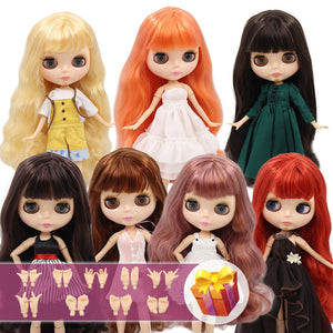 ICY Blyth Doll Nude 1/6 Joint Body 30CM BJD toys Natural shiny face with extra hands AB DIY Fashion Dolls girl gift