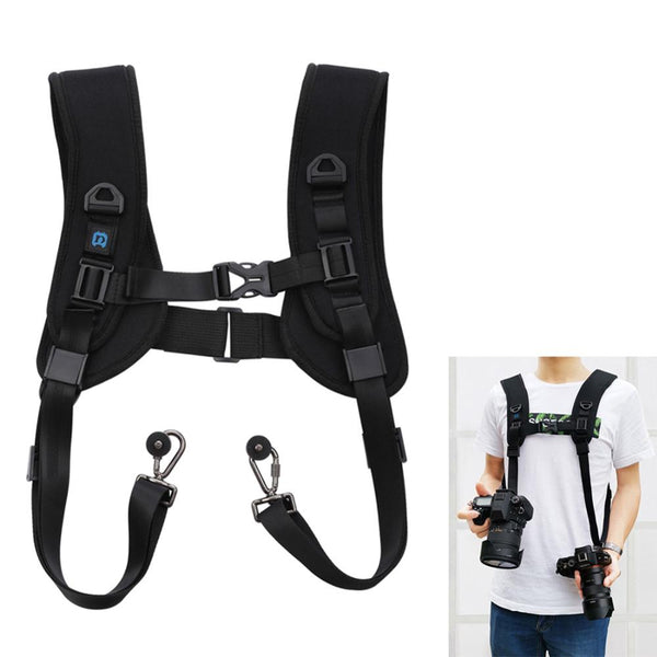 Camera Quick Release Double Shoulder Camera Strap Soft Harness Belt Photo Studio Accessories for Keeping 2 Cameras SLR DSLR