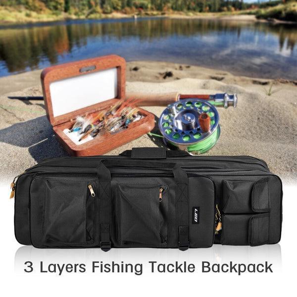 Outdoor Fishing Rod Bag 3 Layer Fishing Bag Backpack 80cm/100cm Fishing Rod Reel Carrier Bag Fishing Pole Tackle Bag Carry Case