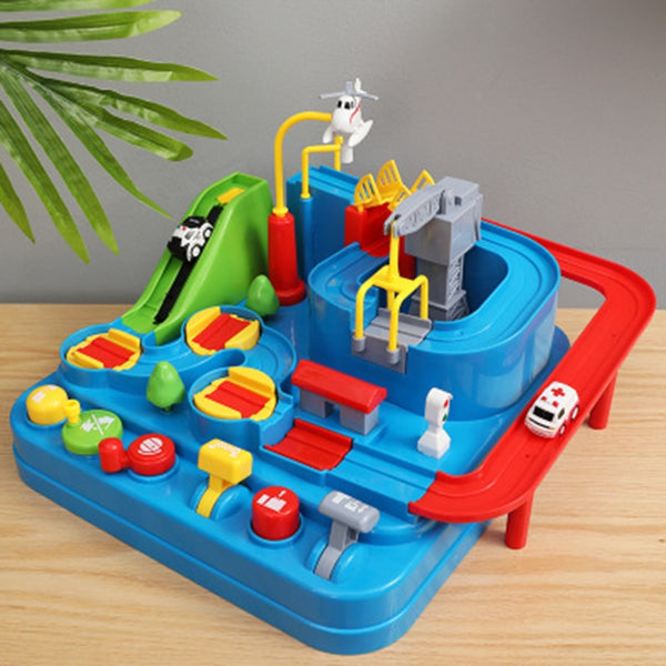 Racing Rail Car Model Racing Educational Toys Children Track Car Adventure Game Brain Game Mechanical Interactive Train Toy