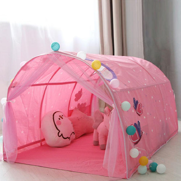 Kids Bed Tent Play House Boy Girl Crawling Tunnel Princess Castle Indoor Outdoor Pretend Play Folding Tent For Baby