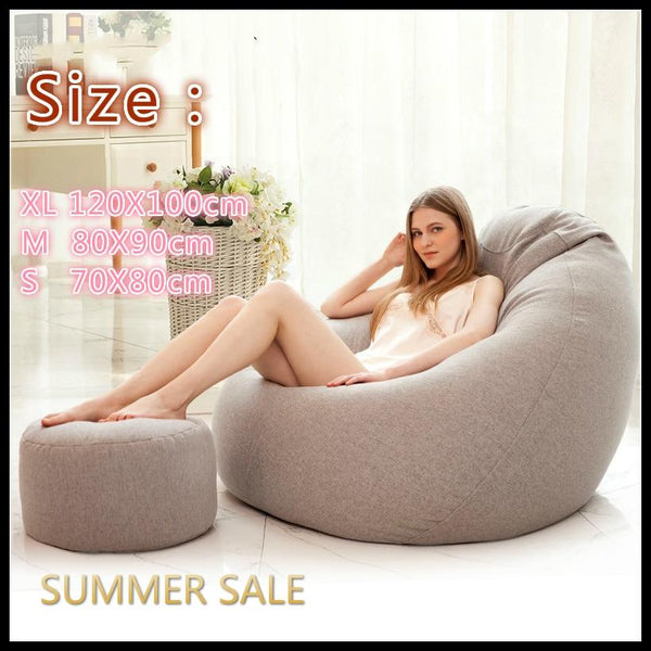 Only Large Small Lazy Sofas Cover Chairs without Filler Linen Cloth Lounger Seat Bean Bag Couch Tatami Living Room