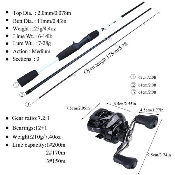 Sougayilang 1.75m Fishing Rod Combo 3 Section Carbon Casting Fishing Rod with 12+1BB Baitcasting Reel Fishing Tackle Kit Pesca