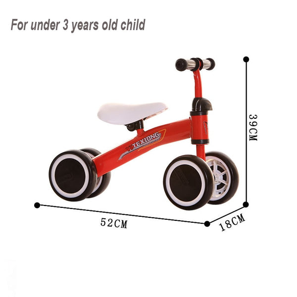Baby Balance Bike Ride On Toys Children Four Wheel Balance Bike No Foot Pedal Bicycle Baby Walker Infant For Learning Walk Scoo