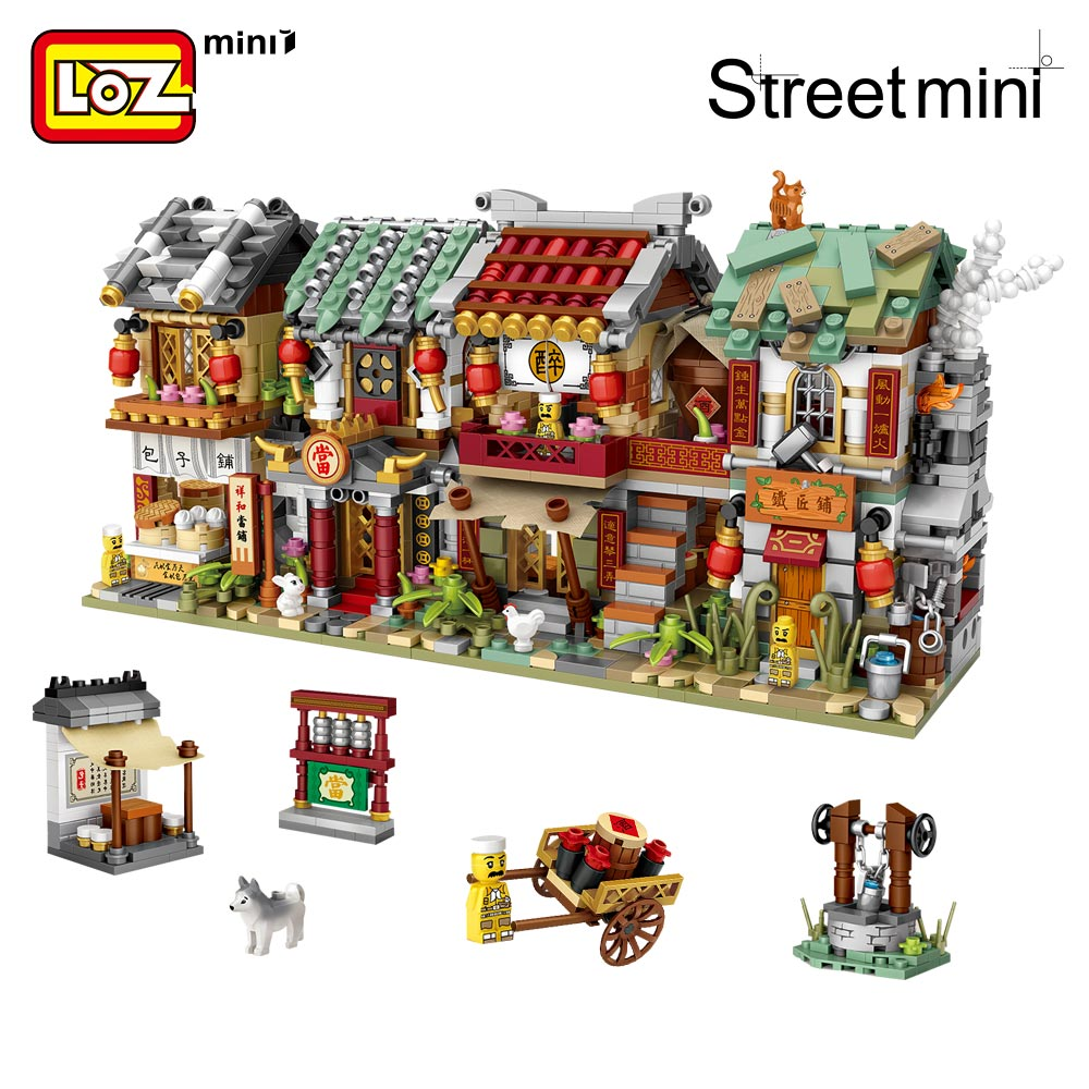 LOZ Mini Block Mini Street City China Street Chinese Tradition Special Model DIY Assembly Toys for Children Educational (1722-1725)