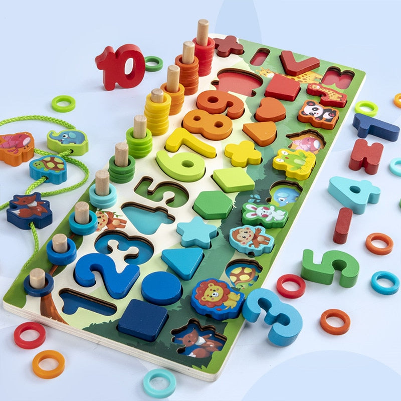 Montessori Educational Wooden Toys Children Busy Board Math Fishing Children's Wooden Preschool Montessori Toy Counting Geometry