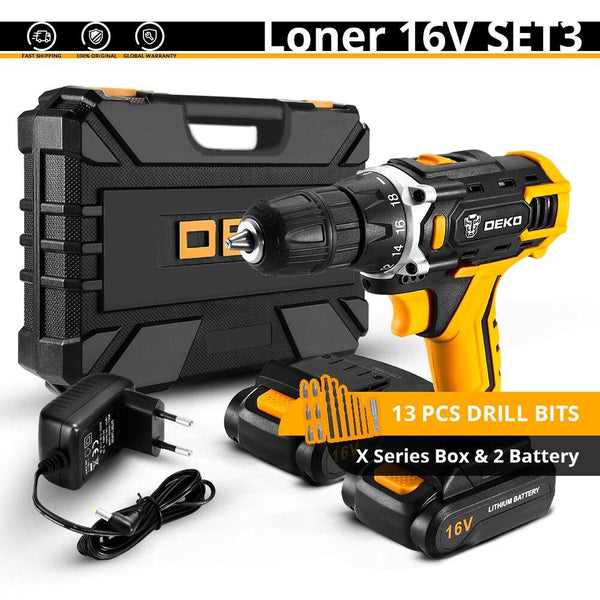 DEKO Banger 12V Loner 16V Cordless Drill Electric Screwdriver Mini Wireless Power Driver DC Lithium-Ion Battery 3/8-Inch