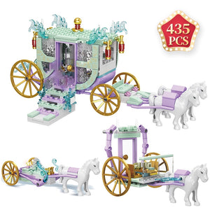 Enlightenment Toys Romantic Princess Carriage Friends Girls Castle Building Blocks Bus educational Bricks Kids Gift
