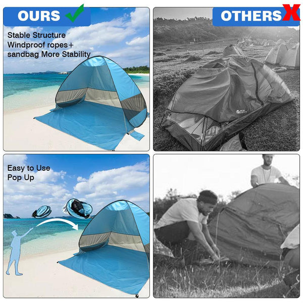 UPF 50+ Pop Up Beach Tent Sun Shelter Beach Shade UV Protection Portable Tent With For Outdoor Activities Beach Traveling