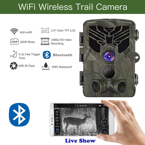 Live Show Wild Trail Camera  Wifi APP Bluetooth Control Hunting Cameras Wifi830 20MP 1080P Night Vision Wildlife  Photo Traps