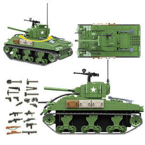 Military Sherman M4A1 Tank WW2 Building Blocks City Police Soldier Technic Tank Bricks Boys children kids Toys Gifts (726Pcs no box)
