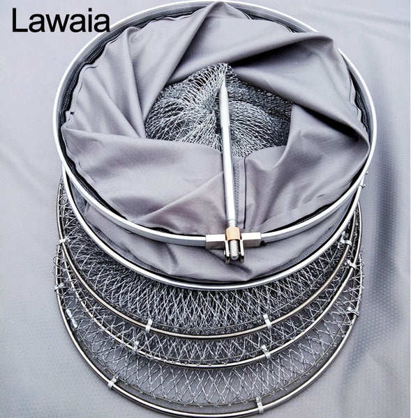 Lawaia Folding Netting Manual Weaving Line Fishnet Cage Anti-hanging Speed Dry Stainless Steel Circle Fishing Tool And Equipment