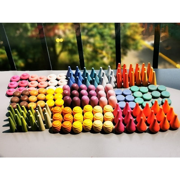 Children Beech Wooden Rainbow Blocks Loose Parts Toy Mushrooms Honeycomb Droplets Tree cones Big Flat Jenga Building Blocks
