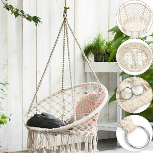 Safe Beige Hanging Hammock Chair Swing Rope Outdoor Indoor Bar Garden Seat Hammock Swing Chair for Children Child Hanging Chair