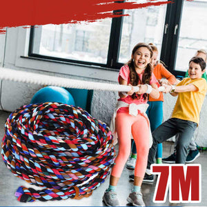 7M/23FT Colorful Hemp Cloth Tug Of War Rope Team Competition Game Thick Rope for Outdoor Fitness Activities