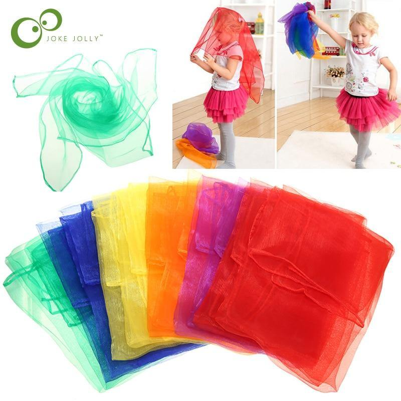 6Pcs 6 colors Gymnastics Scarves For Outdoor Game Toys Dancing And Juggling Towels Candy Colored Gym Towel Dance Gauze YJN
