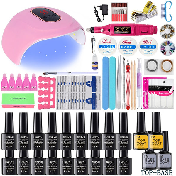 LNWPYH Nail Set UV LED Lamp Dryer With 18/12 pcs Nail Gel Polish Kit Soak Off Manicure Tools Set electric Nail drill Nail Tools
