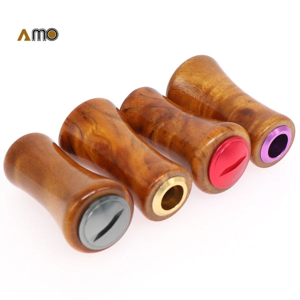 DIY AMO Light wood grip wood knob for AB U Fishing Wheel handle knob for DAI WA/SHI MANO wheel 2PCS Each Set