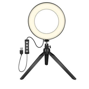 LED Ring Fill-Light Tripods Holder For Studio Photo Video With 6 inch Dimmable Cold Warm LED Selfie Phone Cameras Desktop Rack