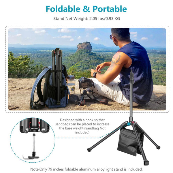 Neewer 78.7 Inches/200CM Photography Tripod Light Stand,Foldable and Adjustable,Aluminium Alloy,for Photo Studio Cameras,Lights