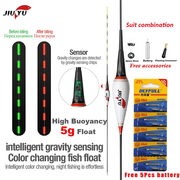 JiuYu 2g-5g Smart Led Fishing Float Gravity Sensor Fish Bite Remind Buoy Glowing Electric Night Fishing tackle 2020 winter New