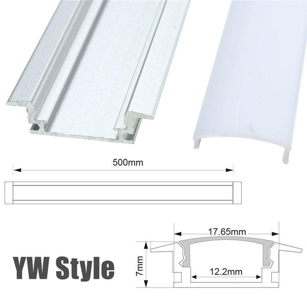 1X 5X 10X LUSTREON 50CM Aluminum Channel Holder For LED Strip Light Bar Under Cabinet Lamp