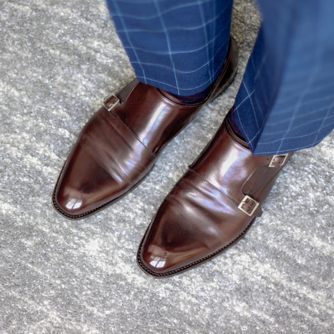 51 Label Style Talk - Dark Blue Windowpane Checked Suit Trousers Paired with Dark Brown Double Monk Strap Shoes