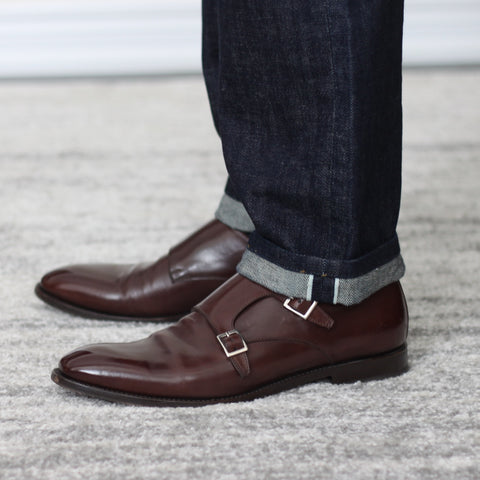 51 Label Style Talk - Denim Jeans with 51's Dark Brown Haste Double Monk Strap Shoes